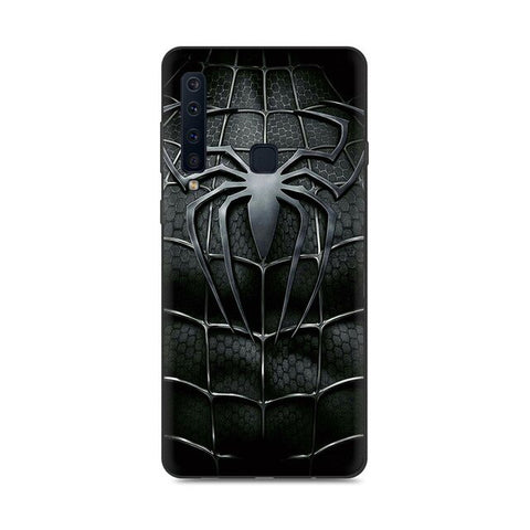 photo vue de face de la coque samsung spiderman araignée symbiote