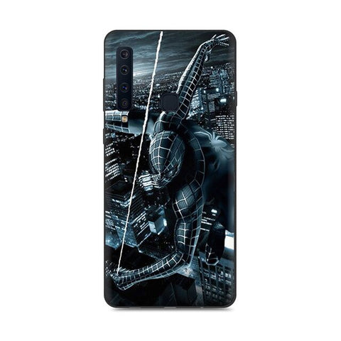 photo vue de face de la coque samsung spiderman noir