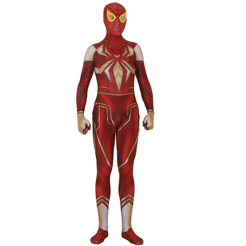 photo vue de face du costume spiderman zentai rouge
