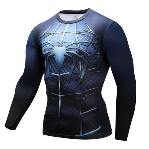 vue de face t shirt compression spiderman négatif