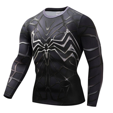 t shirt compression de musculation noir venom