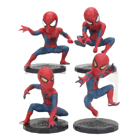 photo de l'ensemble des 4 mini figurines spiderman