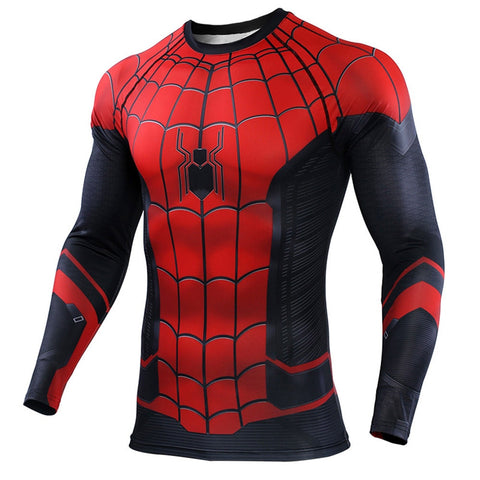 t shirt de musculation spiderman far from home rouge et noir long