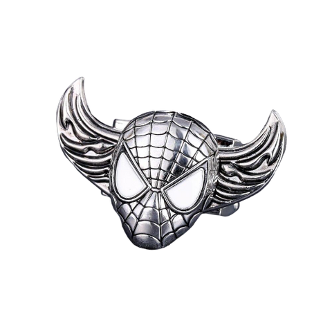 photo de face de la bague spider man biker en argent