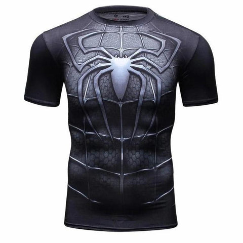t shirt de musculation compression spiderman noir