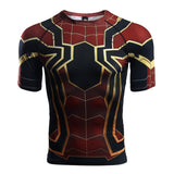 t shirt manche courte de iron spider compression musculation