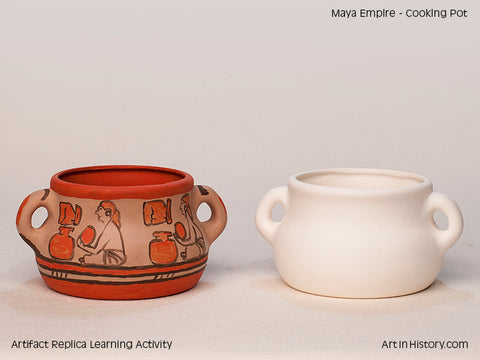 Paint Your Own Maya Cooking Pot Replica