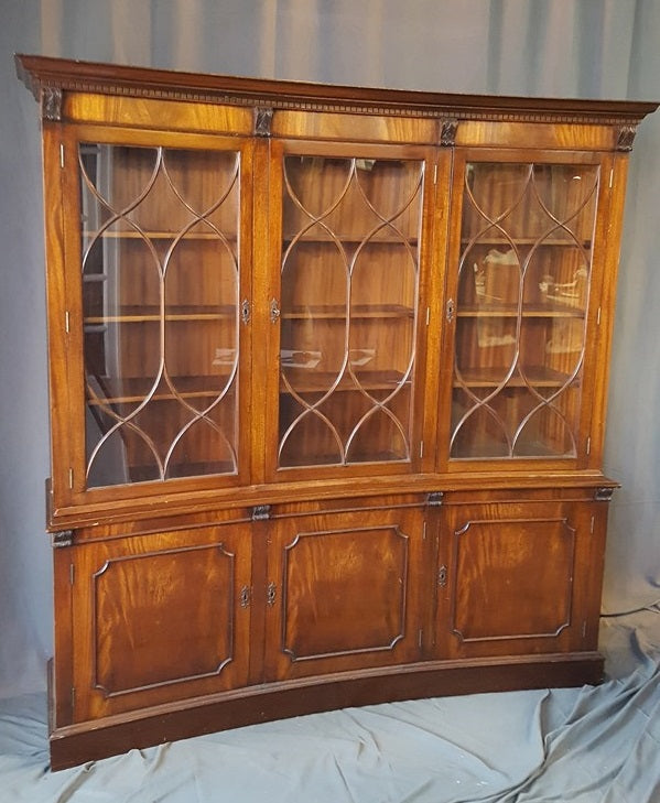 CONCAVE ENGLISH MAHOGANY BOOKCASE OR CHINA CUPBOARD