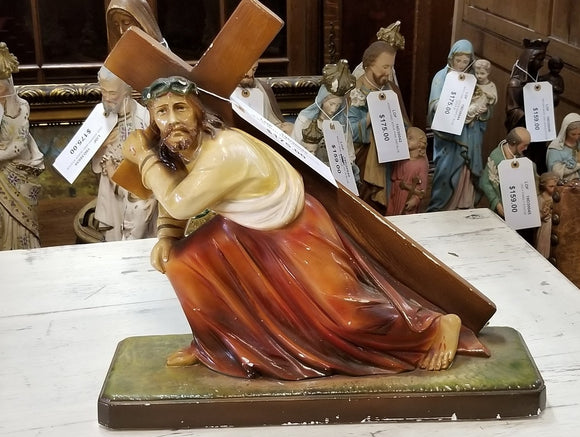 Plaster Statue of Jesus Carrying the Cross-Easy Ship