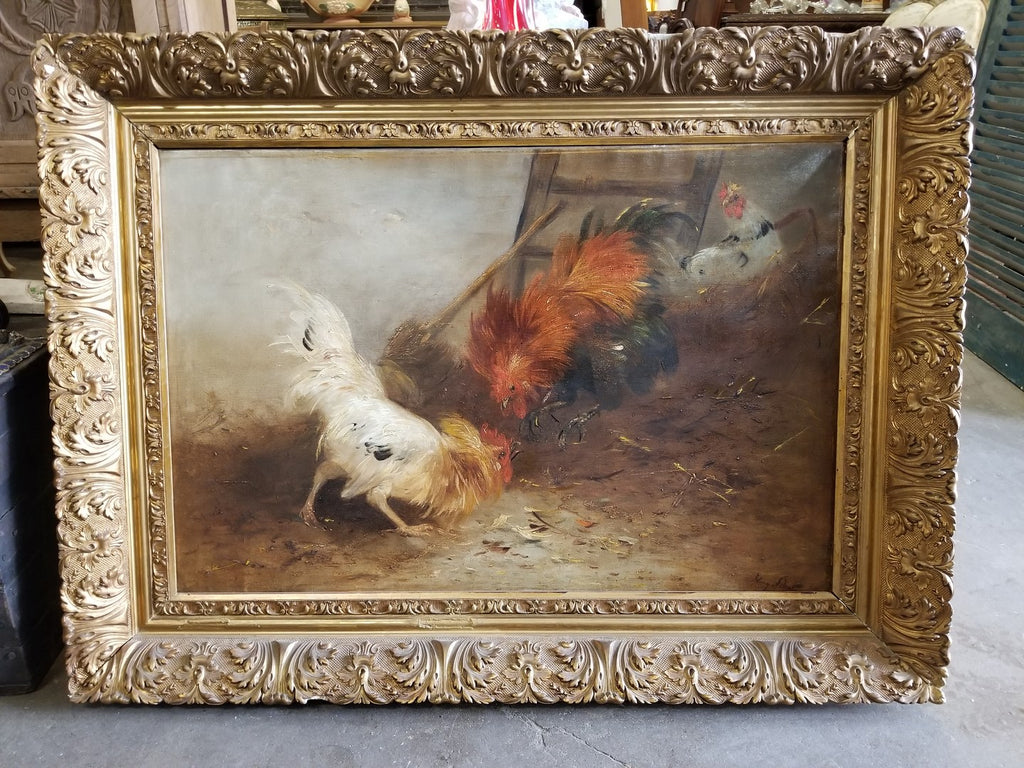 LARGE GILT FRAMED ROOSTERS OIL PAINTING ON CANVAS