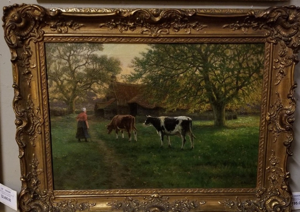 French farm scene Cows Oil Painting by H. Houben