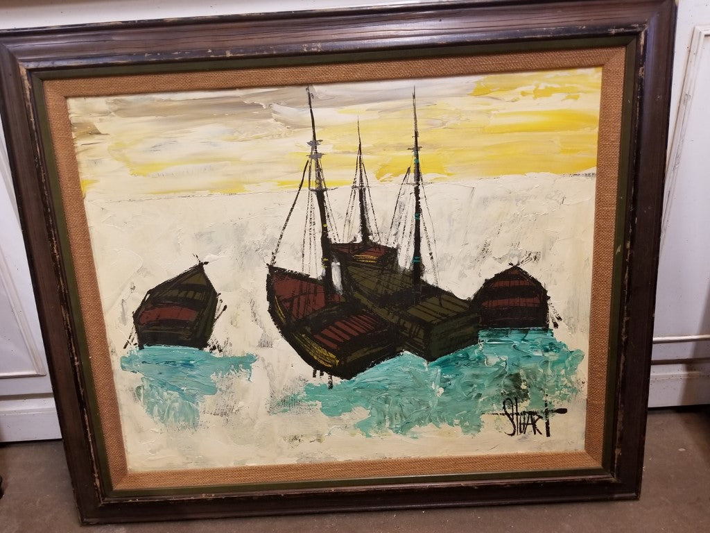 ABSTRACT SHIPS OIL PAINTING WITH GREEN AND YELLOW