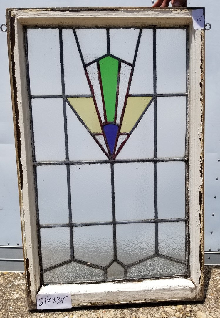 VERTICAL ENGLISH DECO BLUE,GOLD, & GREEN STAINED GLASS WINDOW