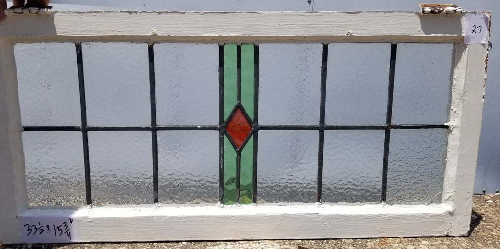 ENGLISH LEADED AND STAINED GLASS WINDOW TRANSOM