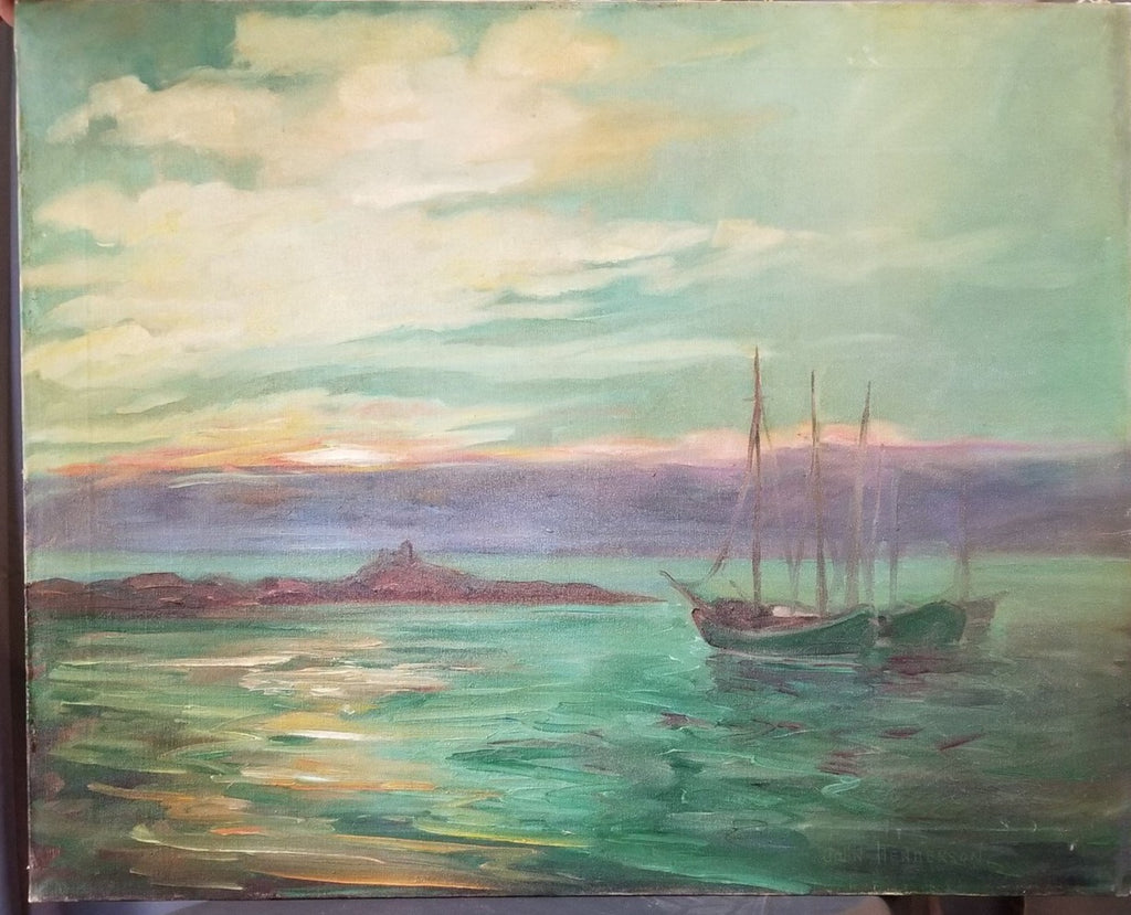 UNFRAMED SEASCAPE OIL ON CANVAS PAINTING BY JOHN HENDERSON
