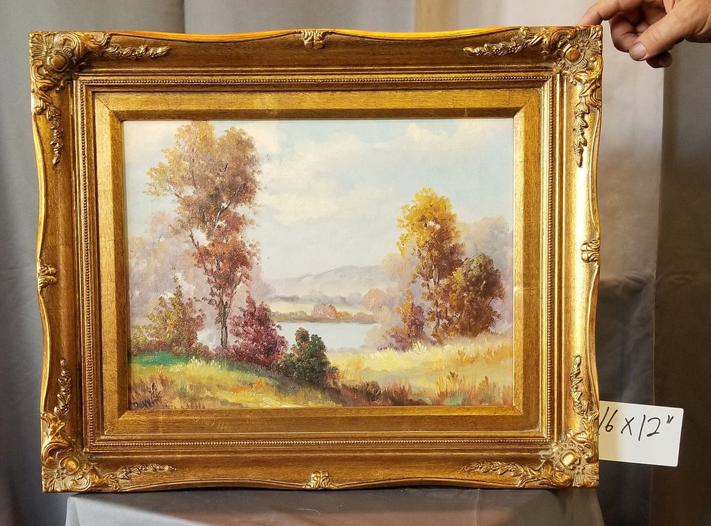 SMALL GOLD FRAMED LANDSCAPE OIL PAINTING OF LAKE BY DWITTE