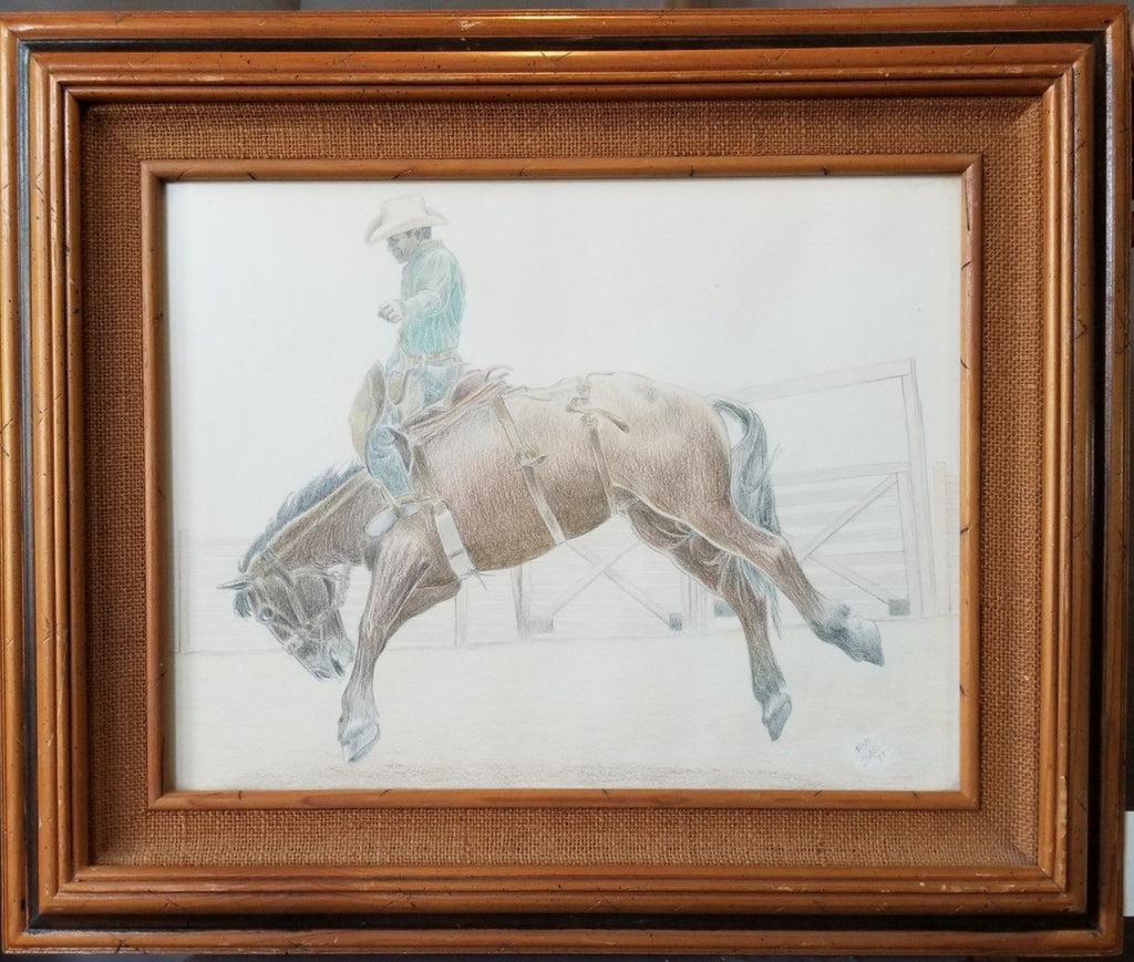 PENCIL DRAWING OF BUCKING BRONCO BY FLOYD STUBS