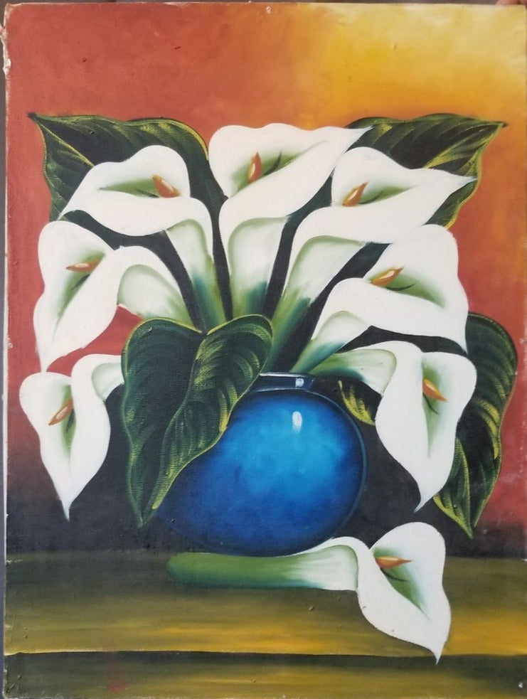 UNFRAMED CALLA LILLY STILL LIFE OIL PAINTING