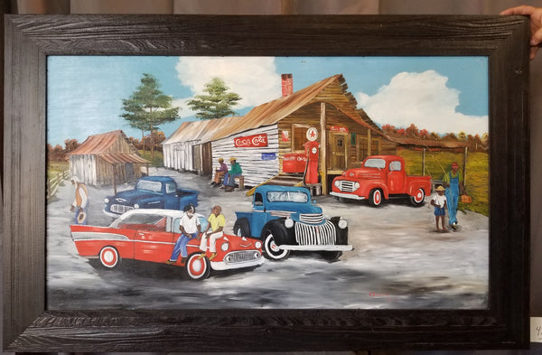 LARGE COUNTRY STORE OIL PAINTING BY A. REYNOLD