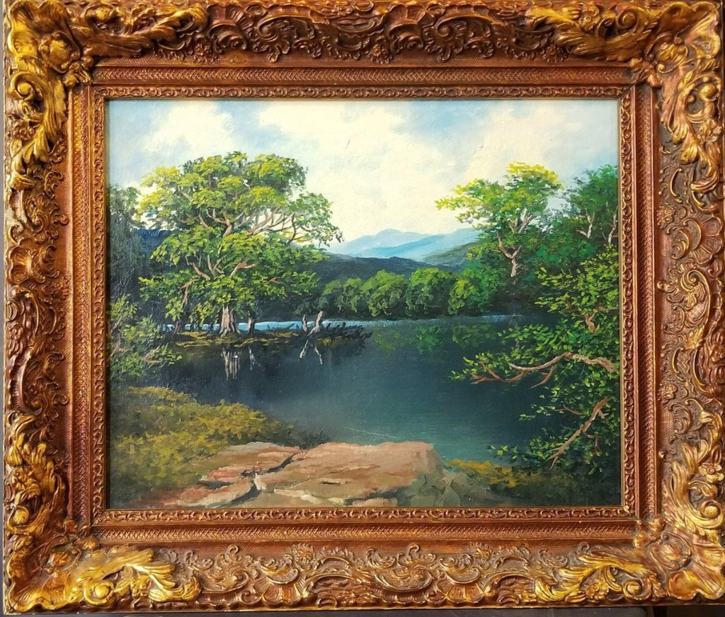 LANDSCAPE OIL PAINTING OF LAKE AND TREES IN NICE FRAME