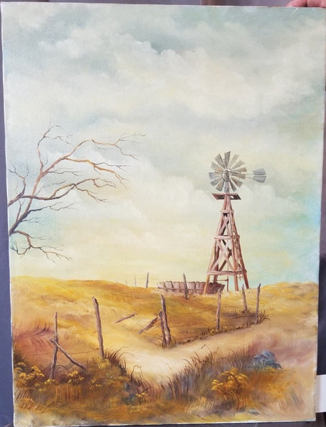 UNFRAMED VERTICAL WINDMILL OIL PAINTING