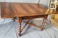 ENGLISH DARK OAK BARLEY TWIST DINING TABLE