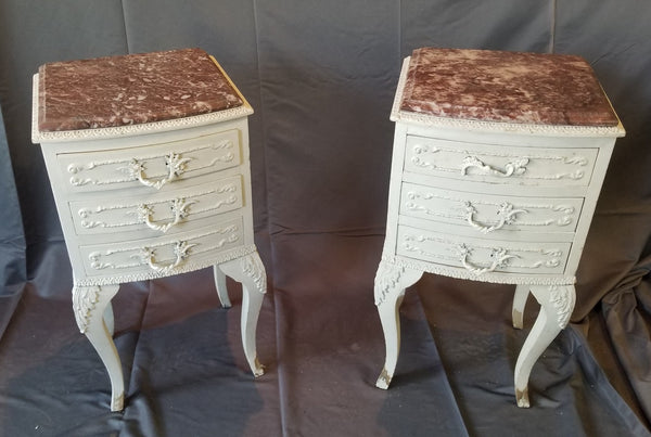PAIR OF LOUIS XV STYLE PAINTED MARBLE TOP NIGHT STANDS