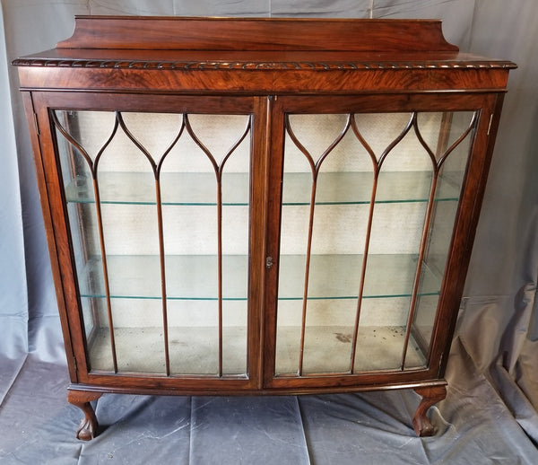 MAHOGANY BALL AND CLAW DISPLAY CASE-REMOVABLE GLASS SHELVES