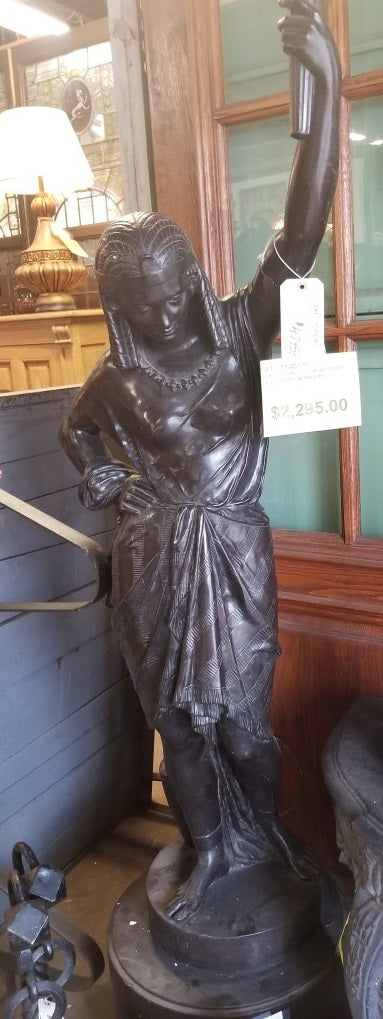 TALL LADY WITH TORCH BRONZE STATUE