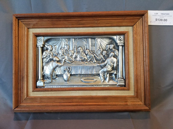 FRAMED LAST SUPER IN PEWTER RELIEF-Religious