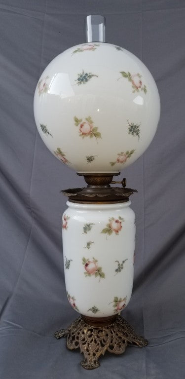 TALL CONVERTED OIL LAMP-WITH GLOBE SHADE