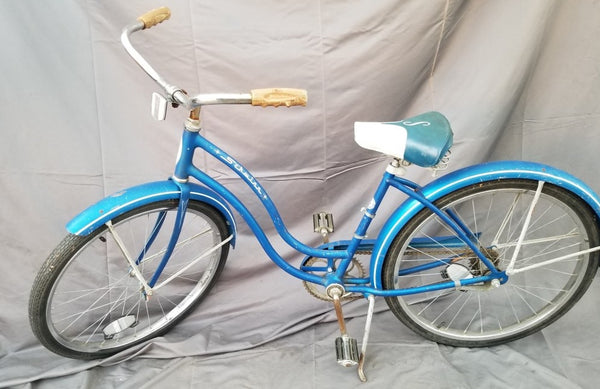 VINTAGE BLUE SCHWINN LADIES BIKE-decor
