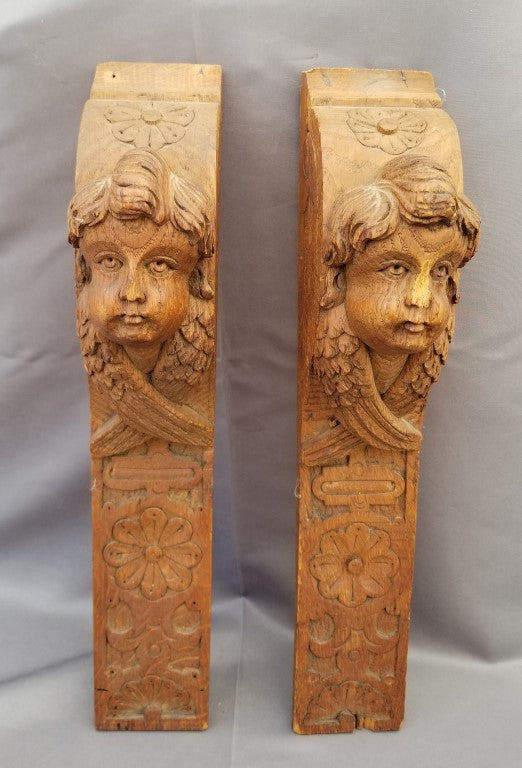 PAIR OF CARVED WOOD ANGEL BRACKETS-religious