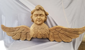 LARGE CARVED ANGEL RELIEF FROM PALM TREE