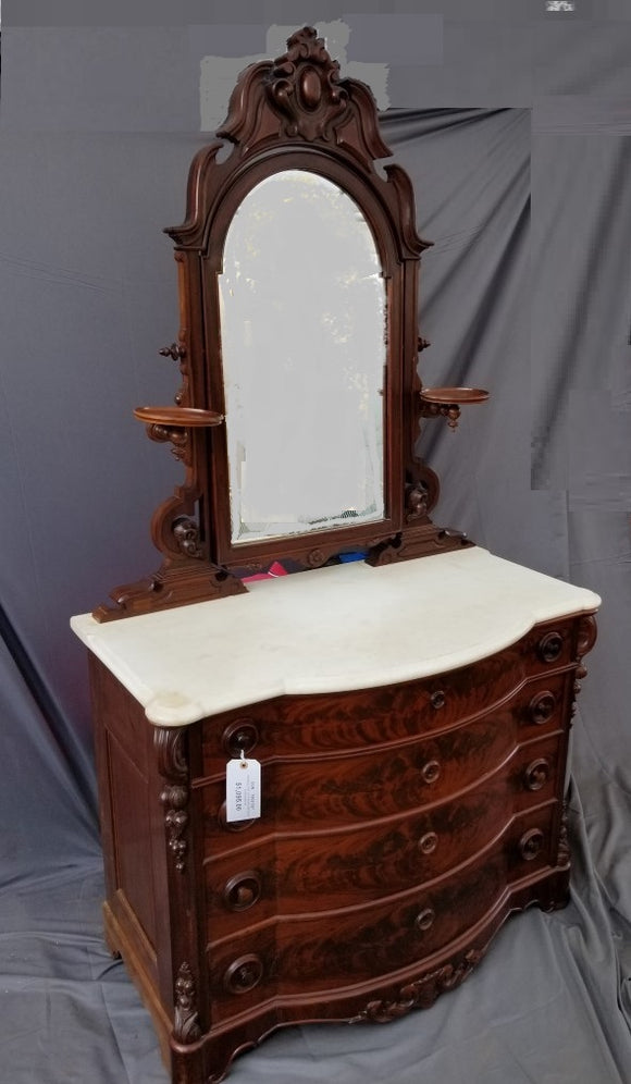 AMERICAN VICTORIAN MARBLE TOP DRESSER WITH MIRROR circa 1860s