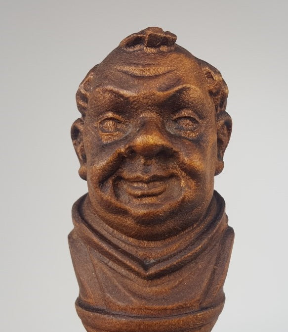 CARVED WOOD MONK BOTTLE STOPPER