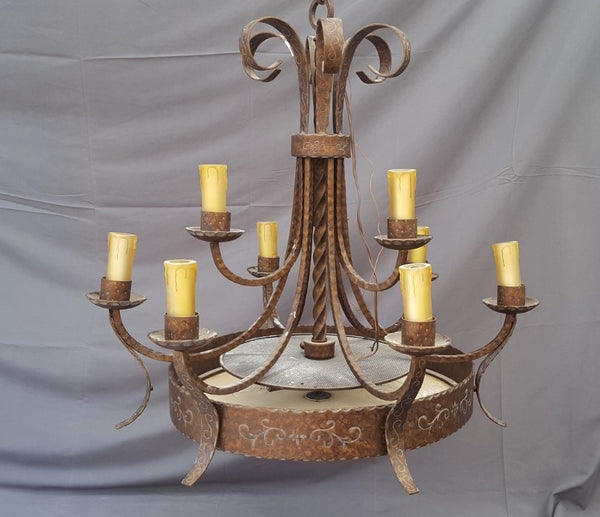 IRON CHANDELIER WITH GLASS DIFFUSER