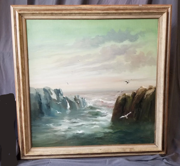 FRAMED SEASCAPE OIL PAINTING BY J. CAMPUZANO