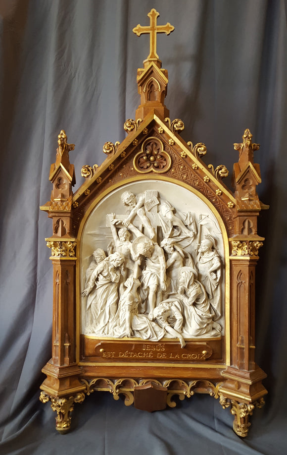 INCREDIBLE LARGE FRENCH STATION OF THE CROSS, JESUS IS TAKEN DOWN FROM THE CROSS
