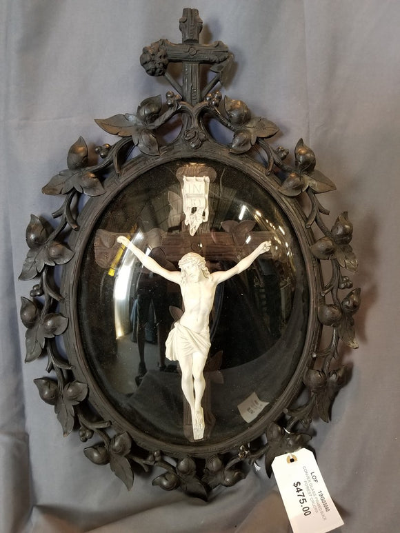CRUCIFIX IN BLACK FOREST CARVED FRAMED WITH CONVEX GLASS  #19G03040