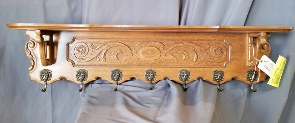 OAK WALL SHELF WITH LION HEAD HOOKS