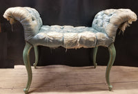 LOVELY LOUIS XV STYLE PAINTED BENCH WITH ROLLED ARMS (AS FOUND)