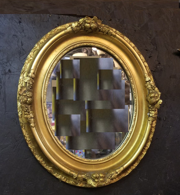 SMALL GOLD OVAL  MIRROR