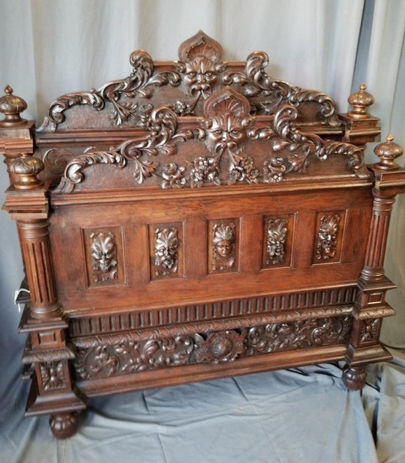 BEAUTIFULLY CARVED WIND FACE TWIN SIZE BED