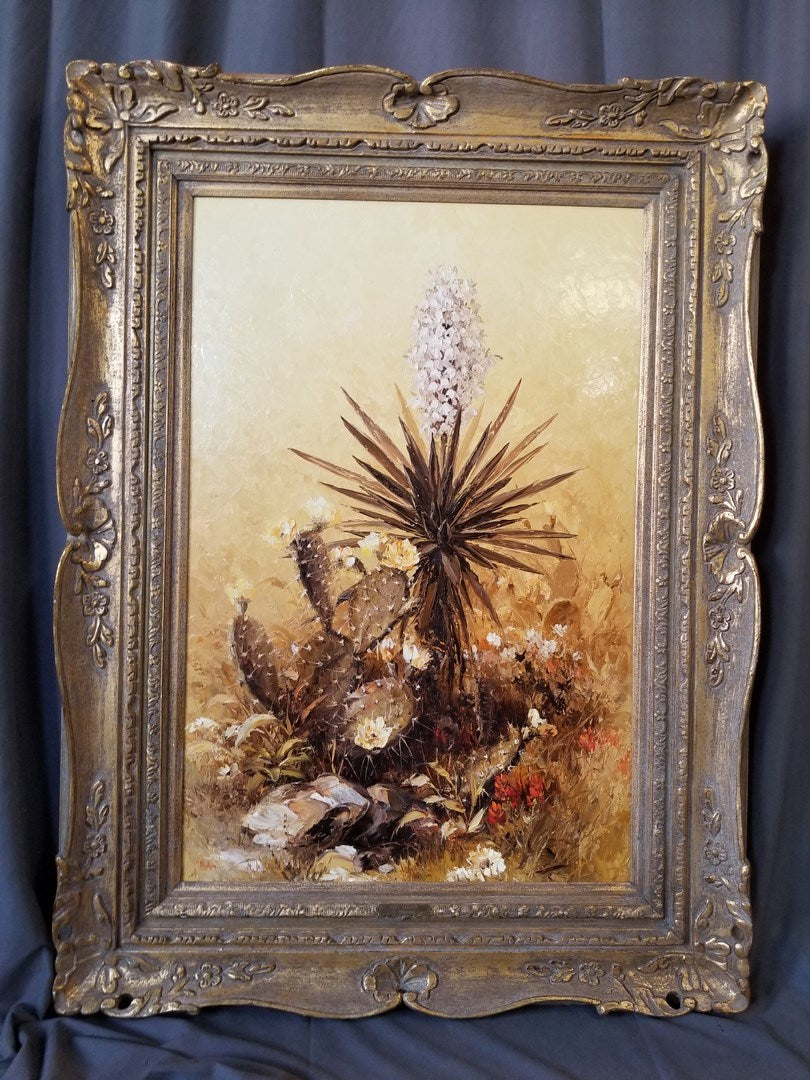 LARGE FRAMED YUCCA OIL PAINTING BY DALHART WINDBERG