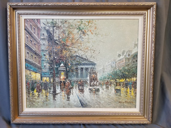 LARGE PARIS STREET SCENE IN THE SNOW OIL PAINTING BY ANTONIO BLANCHARD