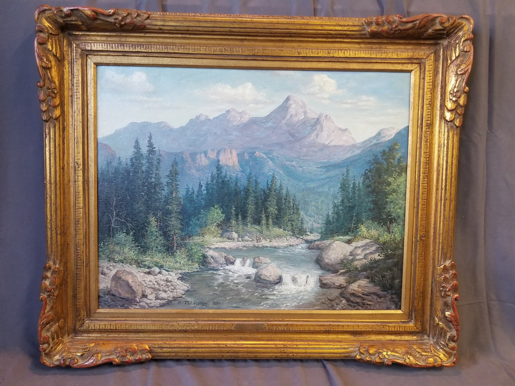 LARGE HIGH COUNTRY STREAM OIL PAINTING BY T.W. ALSTON