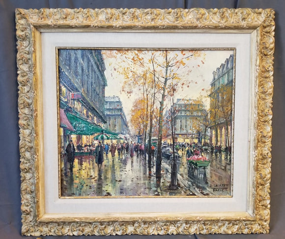 IMPRESSIONIST OIL PAINTING OF PARIS STREET IN SPRINGTIME BY J. SALABET