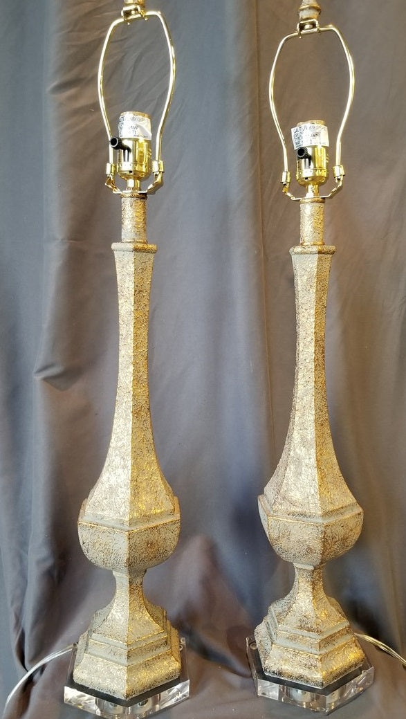 PAIR OF GOLD LAMPS WITH LUCITE BASES