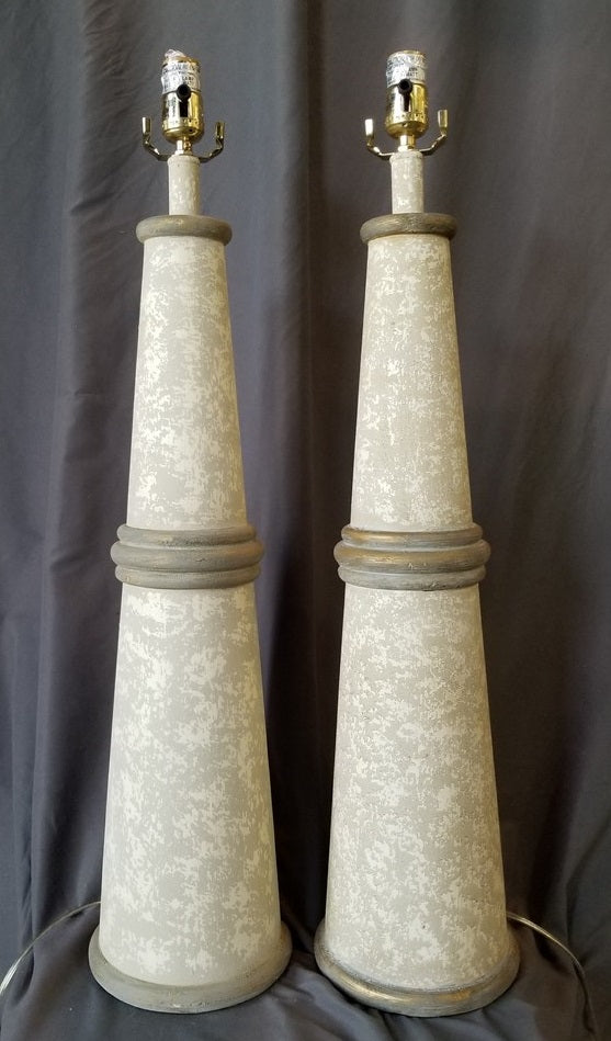 PAIR OF TAPERED CYLINDER LIGHTHOUSE  LAMPS